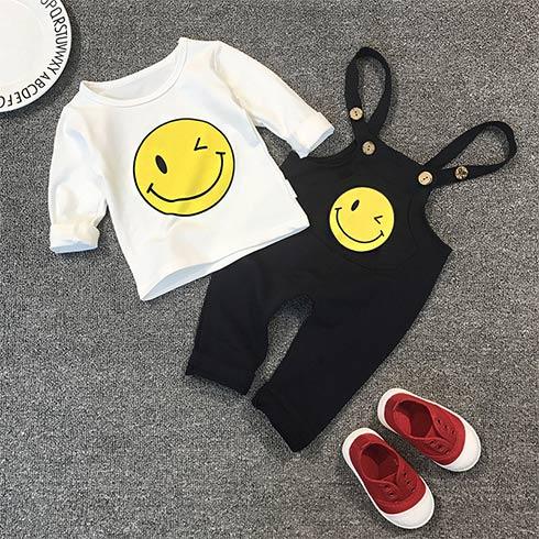 卡通伙伴童装-笑脸背带裤套装