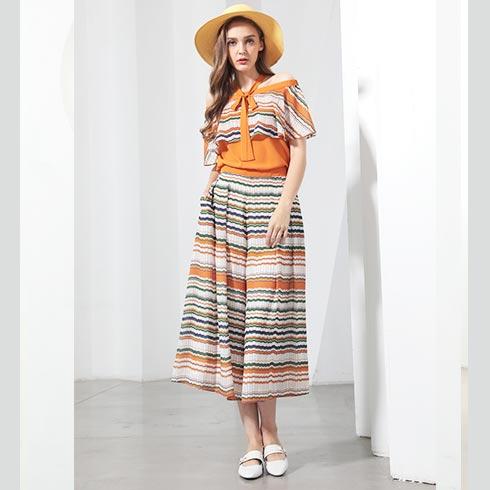 佰莉衣橱女装-一字肩条纹连衣裙