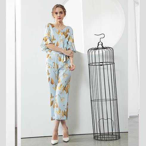佰莉衣橱女装-V领荷叶袖套装