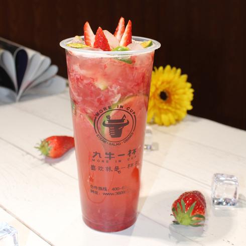 九牛一杯牛排杯-草莓柠檬茶