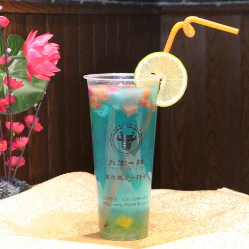 九牛一杯牛排杯-蓝色水果茶