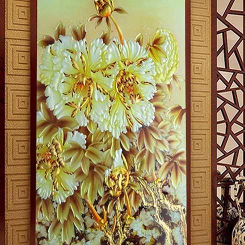 哥凡尼冰晶画工坊-金色菊花立体背景墙