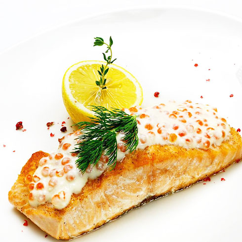 吃杯茶-鱼子芝士烤三文鱼排