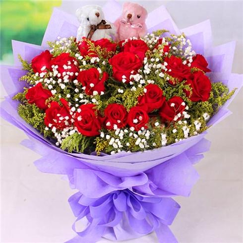 缤纷花艺坊19朵玫瑰