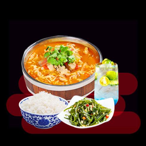 鲜辣鱼生酸菜鱼米饭-木桶咖喱鱼饭