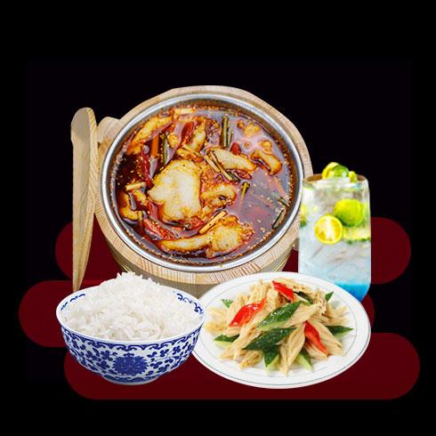 鲜辣鱼生酸菜鱼米饭-木桶麻辣鱼饭