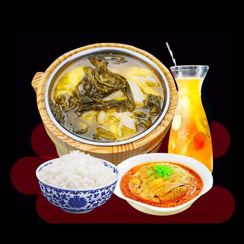 鲜辣鱼生酸菜鱼米饭-木桶酸菜鱼饭
