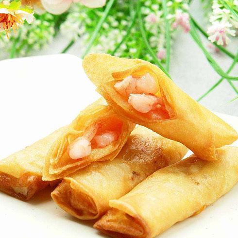夏日午后茶饮-鲜虾春卷
