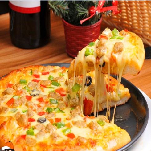 卡方汉堡西式快餐-鸡肉披萨