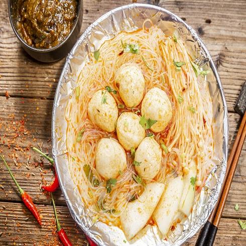 烤古精烧烤-锡纸鱼丸米线
