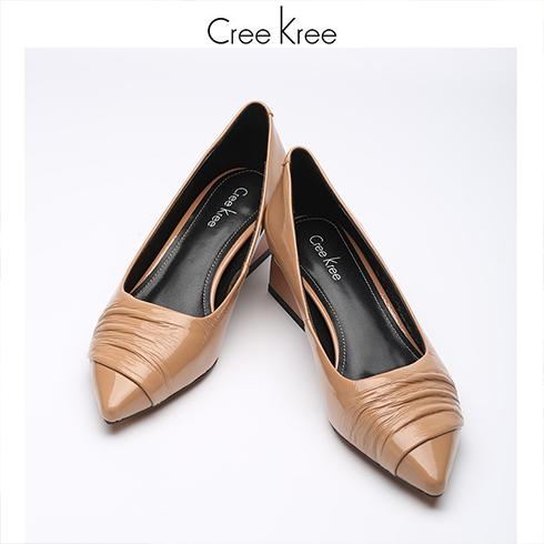 Creekree时尚男女鞋-平底尖头单鞋