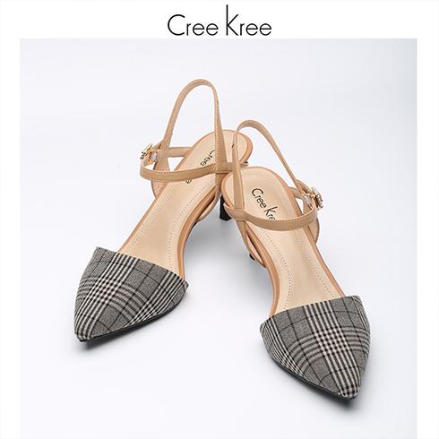 Creekree时尚男女鞋-尖头包头低跟凉鞋