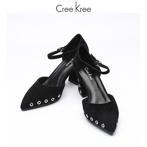 Creekree时尚男女鞋-黑色一字扣包头凉鞋
