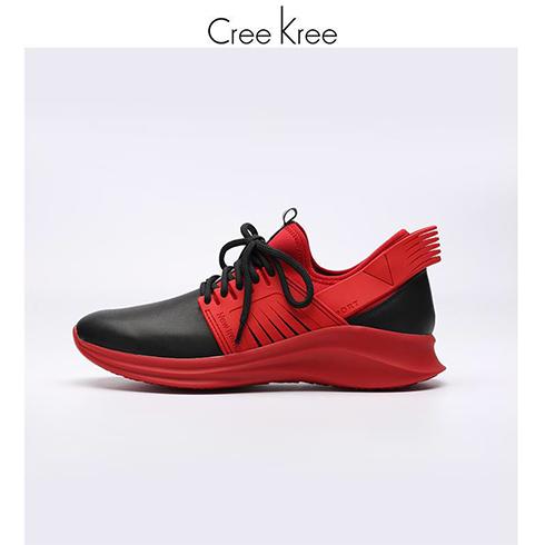 Creekree时尚男女鞋-皮质运动缓震跑步鞋