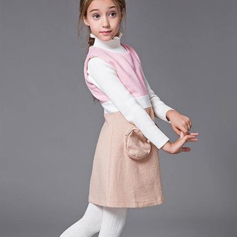 顽皮维尼童装-时尚撞色修身无袖连衣裙