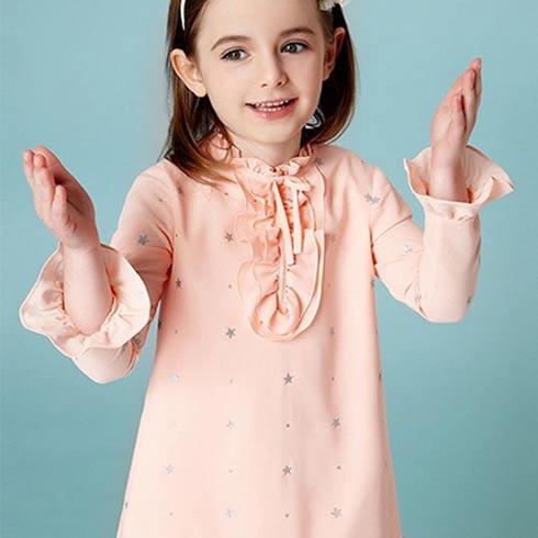 顽皮维尼童装-星星印花宽松长袖连衣裙