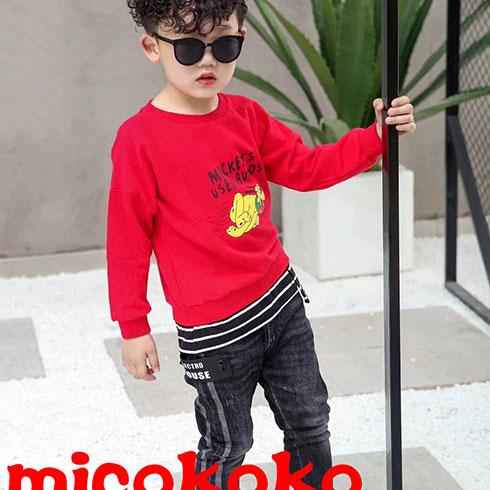 米可童装-红色卡通圆领卫衣