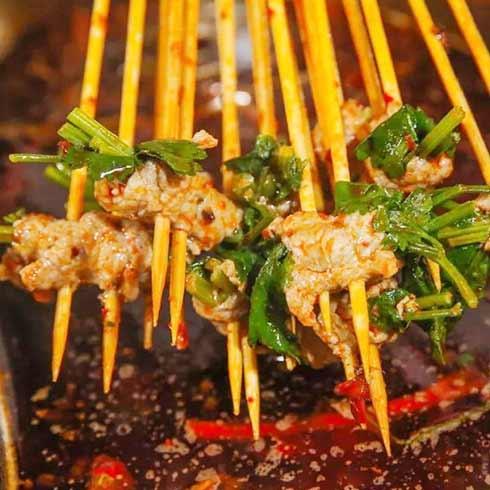 辣巴江串串香-香菜牛肉串