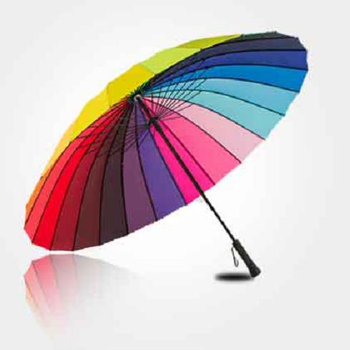 宏胜伞业-彩虹自动直杆伞