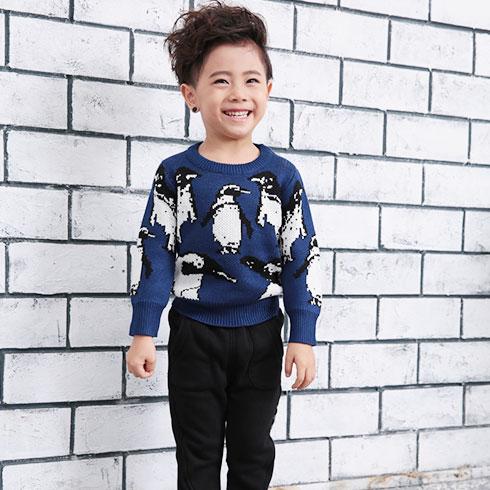 小马嘟嘟童装-企鹅印花毛衣