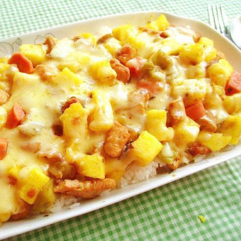 焗芝恋小吃-鸡肉蔬果焗饭
