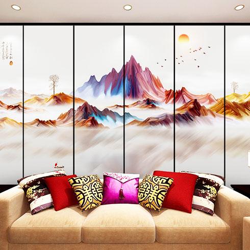 冰彩活画空间装饰-日出山川屏风