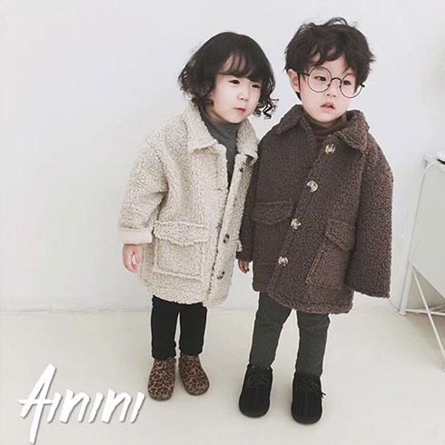 艾尼尼童装-羊羔毛中长款厚外套
