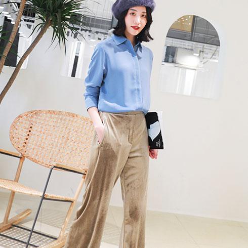 秋之恋女装-宽松裤&淡青衫套装