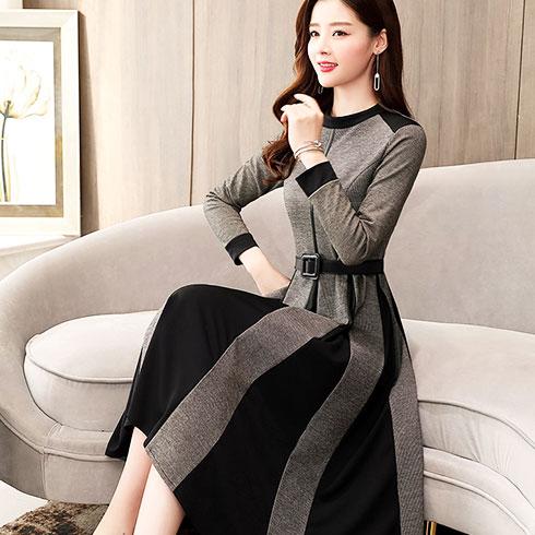 秋之恋女装-条纹圆领连衣裙