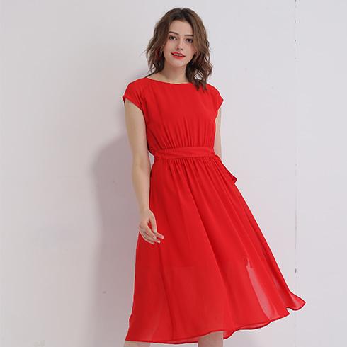艾丽哲女装-纯红色连衣裙