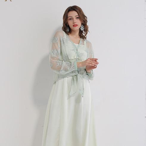 艾丽哲女装-网纱刺绣连衣裙