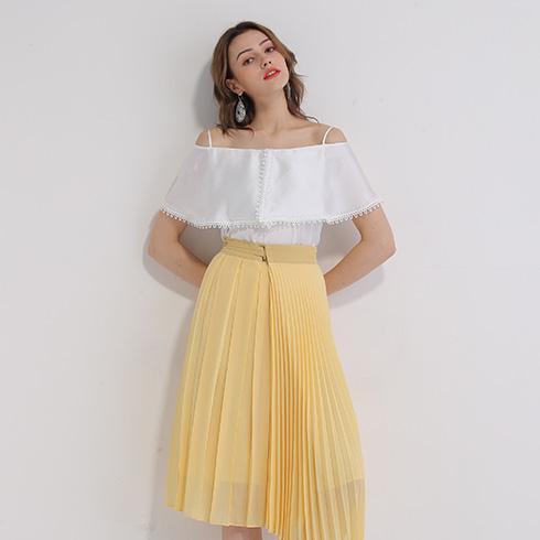 艾丽哲女装-百褶中长款半身裙