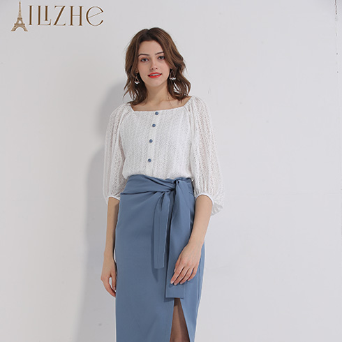艾丽哲女装-百褶短袖衫&藏青裙裤