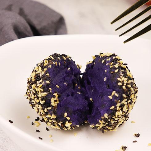 薯榴季台湾特色小吃-紫薯球