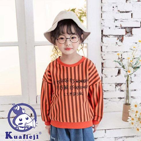 快乐精灵童装-橘黑竖条纹针织衫