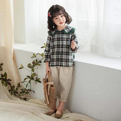 快乐精灵童装-绿白格纹杉