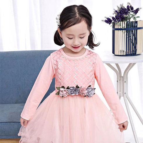 快乐精灵童装-粉红公主连衣裙