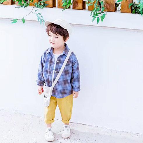 小黄麦童装-春款格子衫