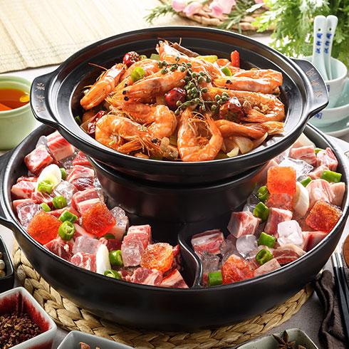 汉轩阁冰煮三鲜火锅-鲜虾五花肉