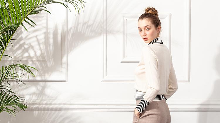 欧林雅-黑白条纹领纯白衫