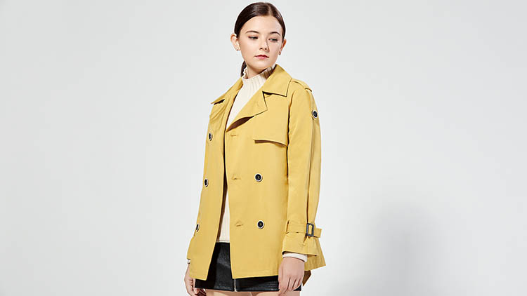 BLSS布伦圣丝-浅黄色立领上衣