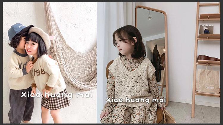 小黄麦童装-灰格针织衫